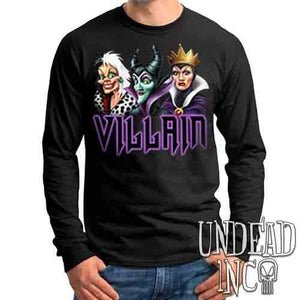 VILLAIN - Cruella Maleficent & Evil Queen - Mens Long Sleeve Tee