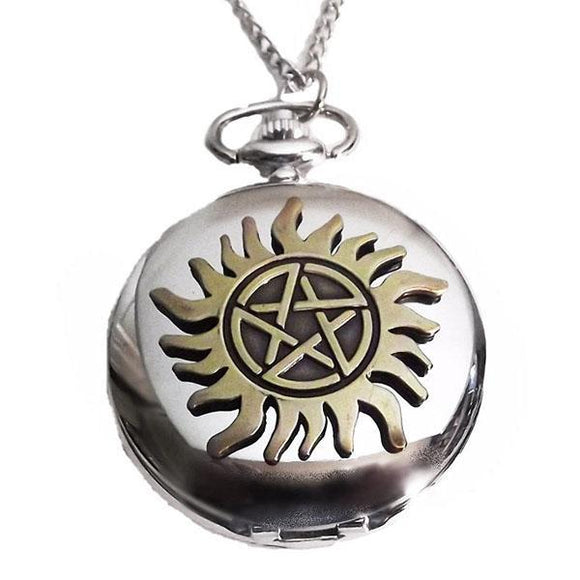 Supernatural Protection Pentagram Tattoo Pocket Watch