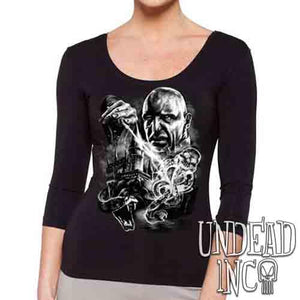 Voldemort's Dark Mark Black & Grey - Ladies 3/4 Long Sleeve Tee