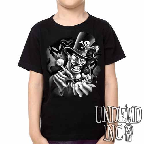 Villains Dr Facilier Voodoo Ray -  Kids Unisex Girls and Boys T shirt Clothing Black Grey