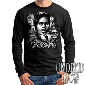 Addams Family Wednesday Ouija Board Black & Grey - Mens Long Sleeve Tee