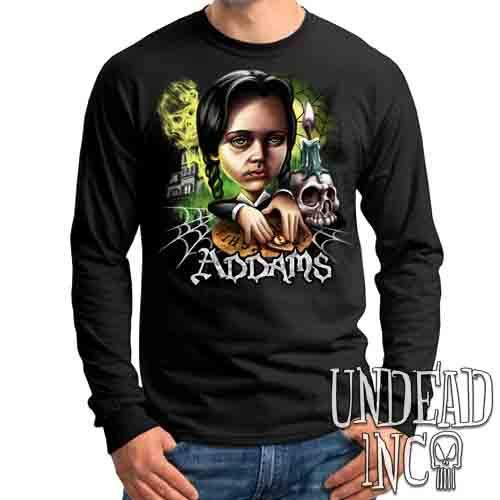 Addams Family Wednesday Ouija Board - Mens Long Sleeve Tee Mens Long Sleeve Shirt Undead Inc