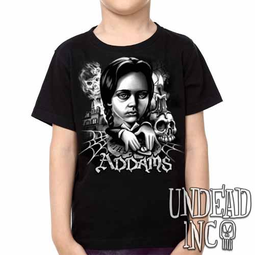 Addams Family Wednesday Ouija Board Black & Grey Kids Unisex Girls and Boys T shirt - Undead Inc Kids T-shirts,