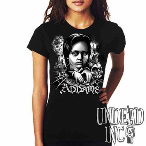 Addams Family Wednesday Ouija Board Black Grey Ladies T Shirt - Undead Inc Ladies T-shirts,