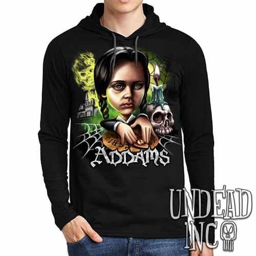 Addams Family Wednesday Ouija Board Mens Long Sleeve Hooded Shirt - Undead Inc Long Sleeve T Shirt,