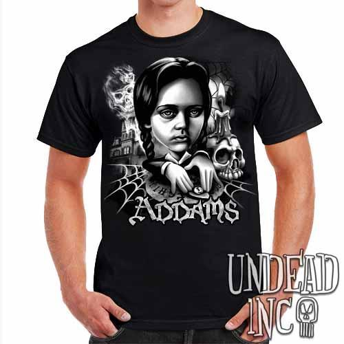 Addams Family Wednesday Ouija Board Black Grey Mens T Shirt - Undead Inc Mens T-shirts,