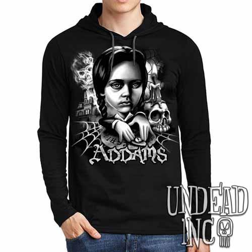 Addams Family Wednesday Ouija Board Black Grey Mens Long Sleeve Hooded Shirt - Undead Inc Long Sleeve T Shirt,