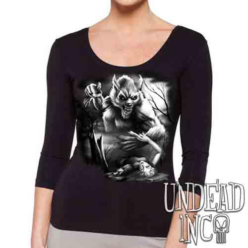 Werewolf Moonlight Murder Black & Grey - Ladies 3/4 Long Sleeve Tee