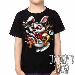 Alice In Wonderland White Rabbit I'm Late Teacup - Kids Unisex Girls and Boys T shirt Clothing - Undead Inc Kids T-shirts,