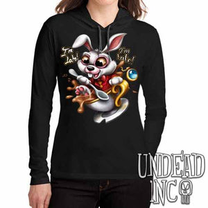 Alice In Wonderland White Rabbit I'm Late Teacup Ladies Long Sleeve Hooded Shirt - Undead Inc Long Sleeve T Shirt,