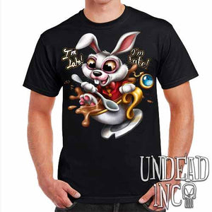 Alice In Wonderland White Rabbit I'm Late Teacup - Mens T Shirt - Undead Inc Mens T-shirts,