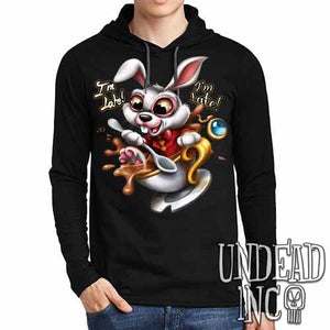 Alice In Wonderland White Rabbit I'm Late Teacup Mens Long Sleeve Hooded Shirt - Undead Inc Long Sleeve T Shirt,