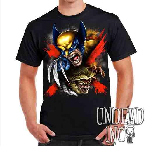 Wolverine X Sabretooth - Mens T Shirt Mens T-shirts Undead Inc