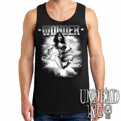 Wonder Woman Black & Grey Mens Tank Singlet