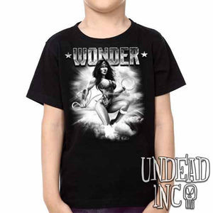 Wonder Woman -  Kids Unisex Girls and Boys T shirt Clothing Black & grey