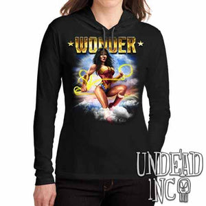 Wonder Woman - Ladies Long Sleeve Hooded Shirt