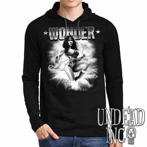 Wonder Woman Black Grey Mens Long Sleeve Hooded Shirt