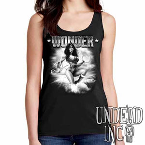 Wonder Woman - Ladies Singlet Tank Black & Grey