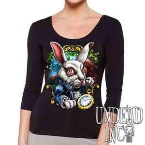Alice In Wonderland White Rabbit - Ladies 3/4 Long Sleeve Tee