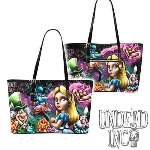 Alice In Wonderland Mad World Large Pu Leather Handbag / Shoulder Bag