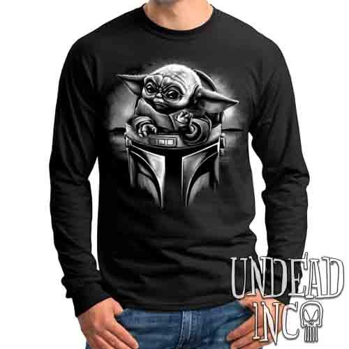 The Child Mando Helmet Black & Grey - Mens Long Sleeve Tee