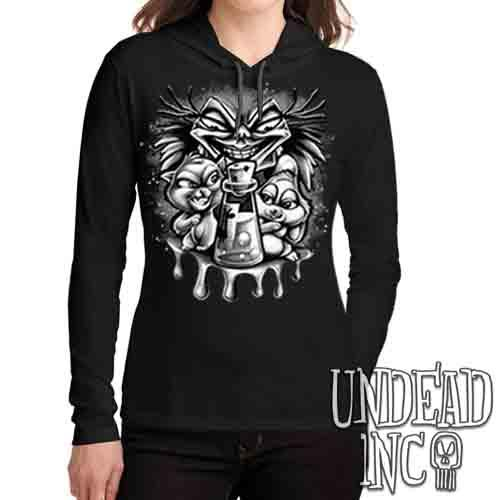 Yzma Essence Of Llama Black & Grey - Ladies Long Sleeve Hooded Shirt Long Sleeve T Shirt Undead Inc