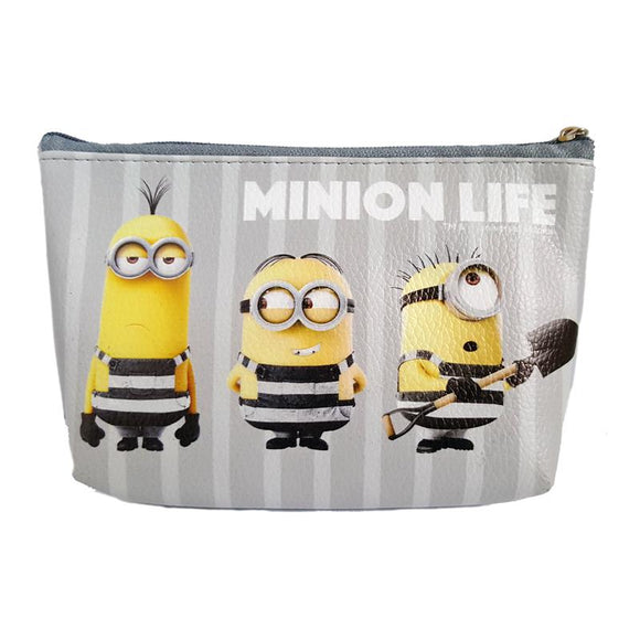 Despicable Me Minions Jail House Black Pu Leather Makeup Cosmetics Bag - Undead Inc Cosmetics Bag,
