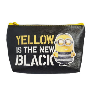 Despicable Me Minions Yellow Is The New Black Pu Leather Makeup Cosmetics Bag - Undead Inc Cosmetics Bag,