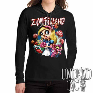 Alice in Zombieland  - Ladies Long Sleeve Hooded Shirt - Undead Inc Long Sleeve T Shirt,