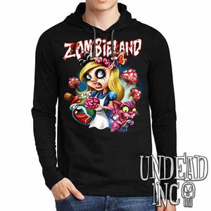 Alice in Zombieland - Mens Long Sleeve Hooded Shirt - Undead Inc Long Sleeve T Shirt,
