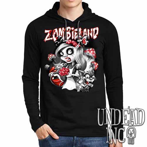Alice in Zombieland Black Grey Mens Long Sleeve Hooded Shirt - Undead Inc Long Sleeve T Shirt,