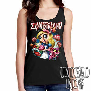 Alice in Zombieland  - Ladies Singlet Tank - Undead Inc Ladies Tank Tops,