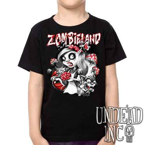 Alice in Zombieland - Kids Unisex Girls and Boys T shirt Clothing Black Grey Red - Undead Inc Kids T-shirts,