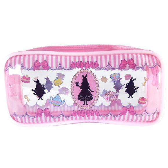 Alice In Wonderland White Rabbit Pink Makeup Cosmetics Bag - Undead Inc Cosmetics Bag,