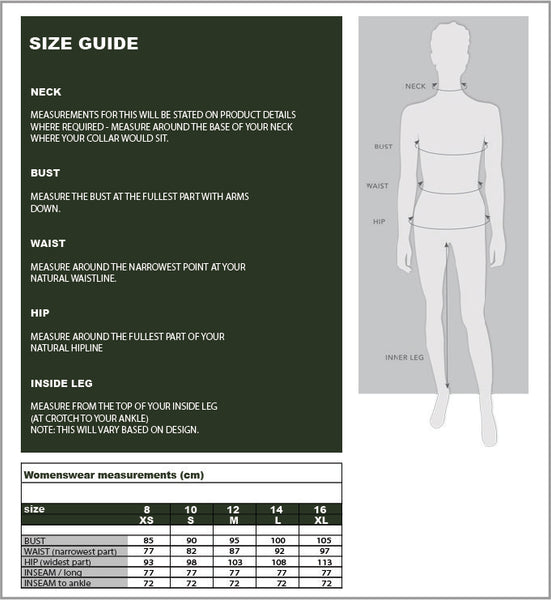 Fit guide and size chart