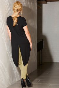 Womens tee with split back and detail down centre front allbases