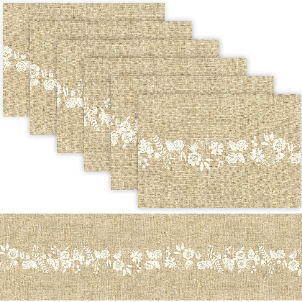 1 TABLE RUNNER + 6 PLACEMATS SET (JUTE AND FLOWER)