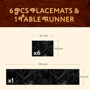 1 TABLE RUNNER + 6 PLACEMATS SET (BLACK MARBLE)
