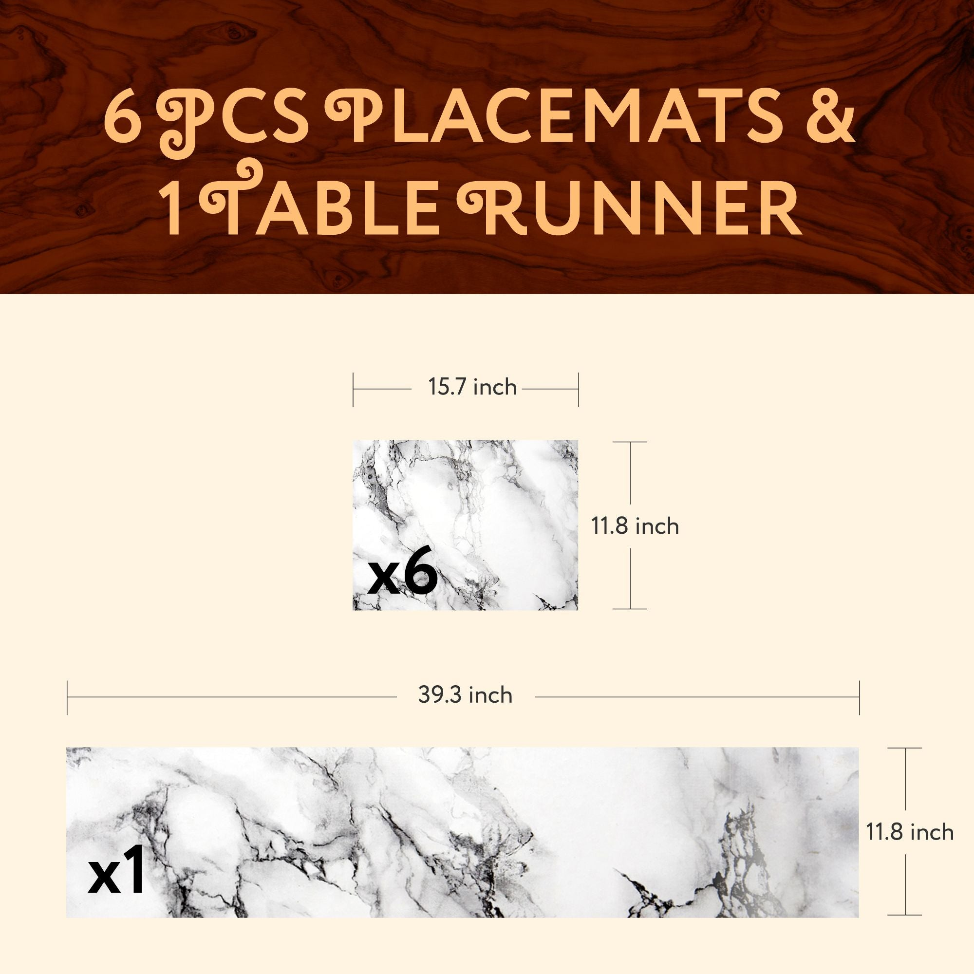 1 TABLE RUNNER + 6 PLACEMATS SET (WHITE MARBLE)