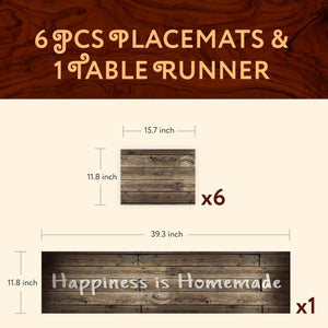 1 TABLE RUNNER + 6 PLACEMATS SET (WOODEN RUSTIC)