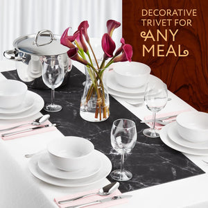DECORATIVE TRIVET & KITCHEN TABLE RUNNERS (BLACK MARBLE)