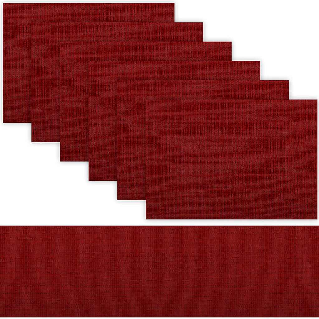 1 TABLE RUNNER + 6 PLACEMATS SET (BURGUNDY)
