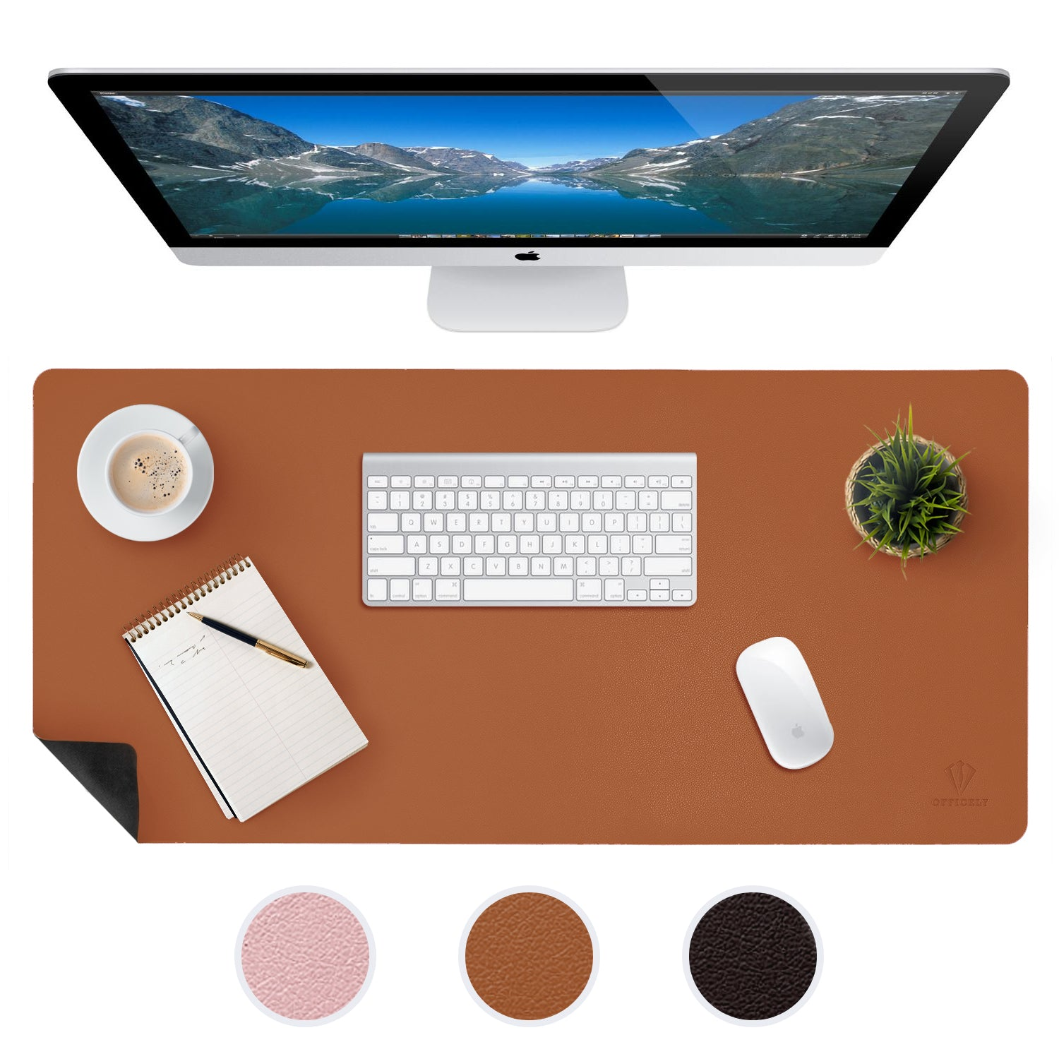 OFFICELY LEATHER DESK MAT (BROWN)