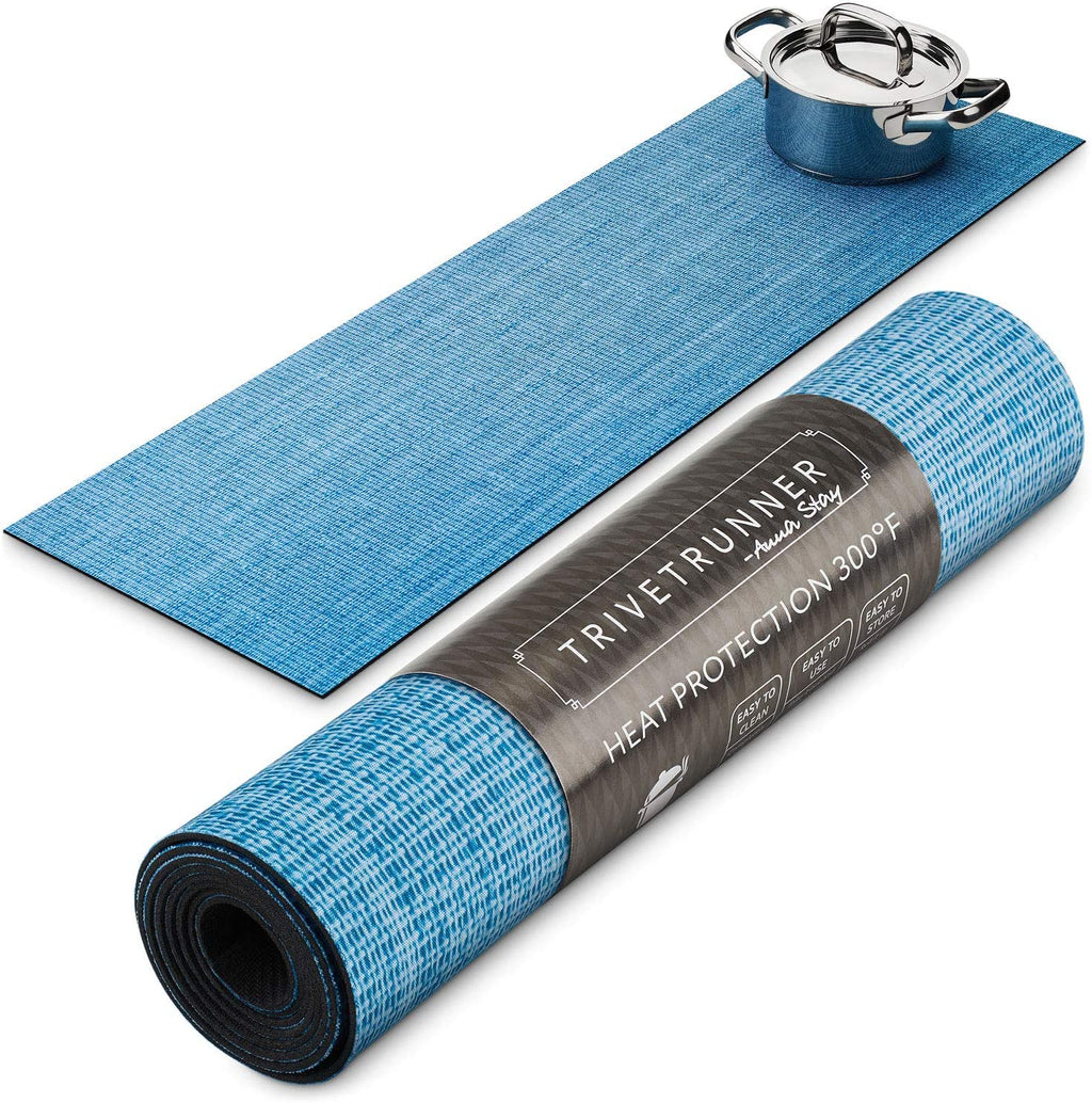 ANNA STAY | DECORATIVE TRIVET & KITCHEN TABLE RUNNERS | LONG | BLUE SKY