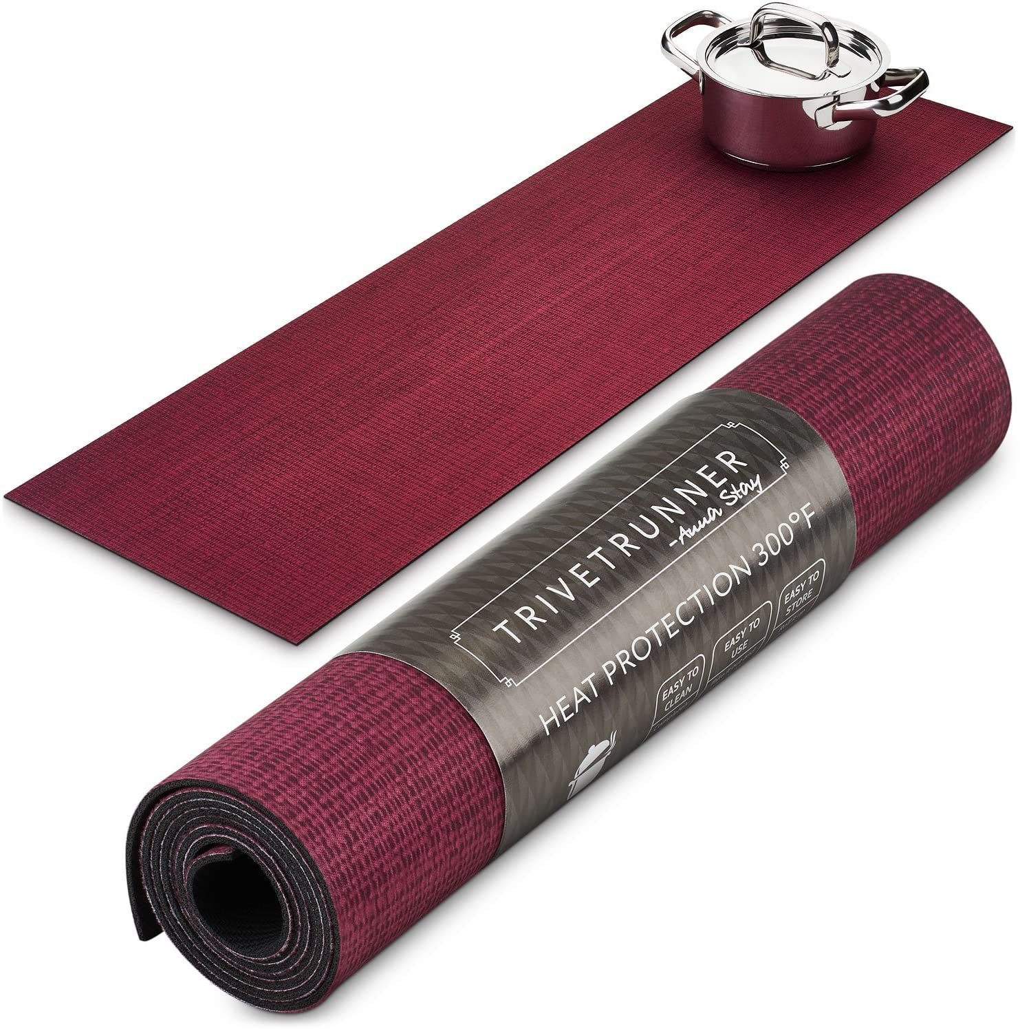 ANNA STAY | DECORATIVE TRIVET & KITCHEN TABLE RUNNERS | LONG | BURGUNDY