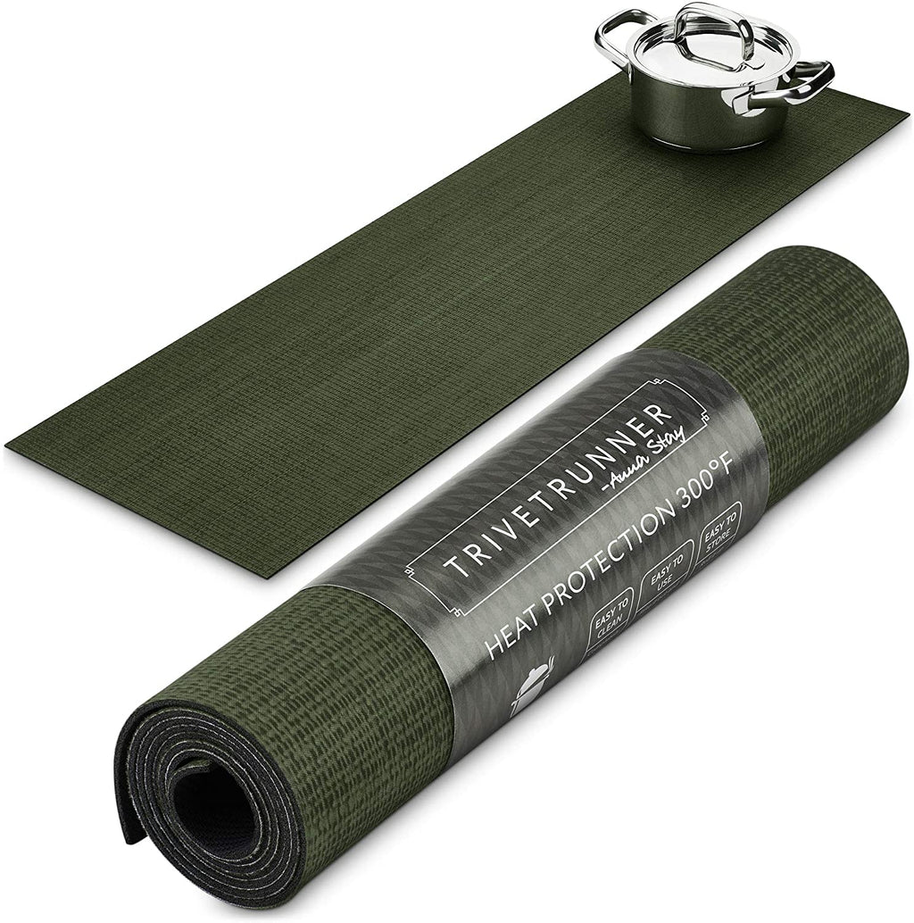 ANNA STAY | DECORATIVE TRIVET & KITCHEN TABLE RUNNERS | LONG | DARK GREEN