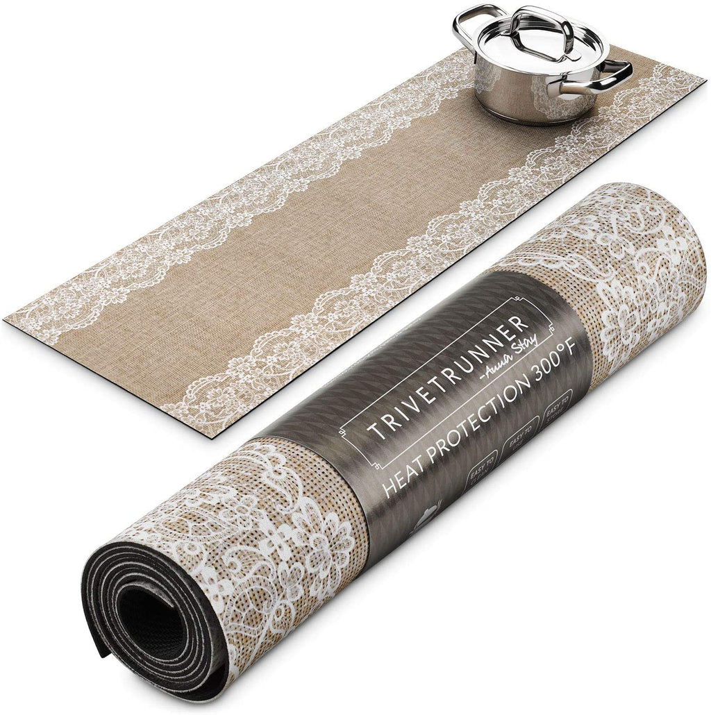 ANNA STAY | DECORATIVE TRIVET & KITCHEN TABLE RUNNERS | LONG | JUTE & LACE