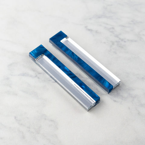 Geo Bars I Blue Ripple & Silver Mirror