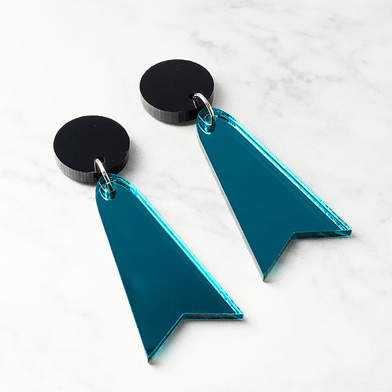 Geo Luxes I Black and Teal Mirror