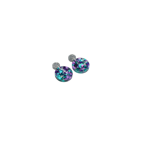 Geo Circle I Silver Glitter & Turquoise Purple Hearts